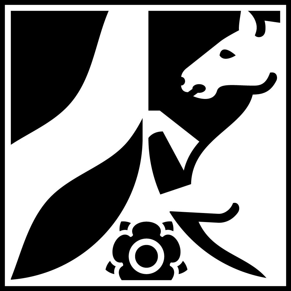 Wappen des Landes NRW in schwarz/weiß.