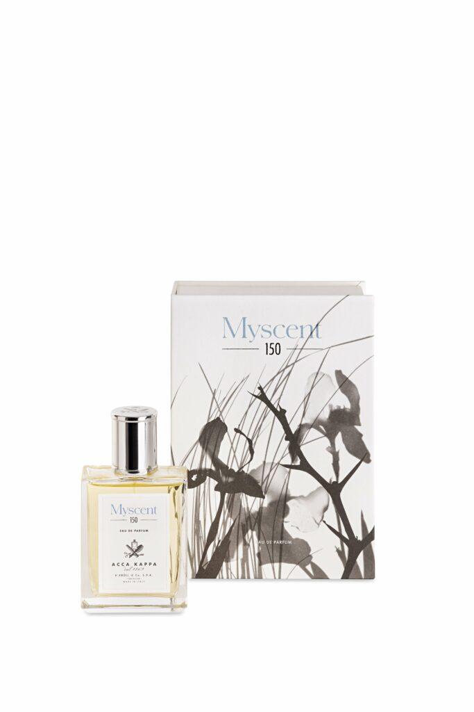 Freisteller des Acca Kappa Eau de Parfums Myscent vor passendem Karton mit Naturmotiv.