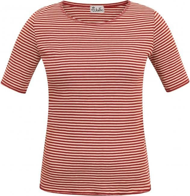 Freisteller eines weiß-roten Ringelshirts mit kurzem Arm.