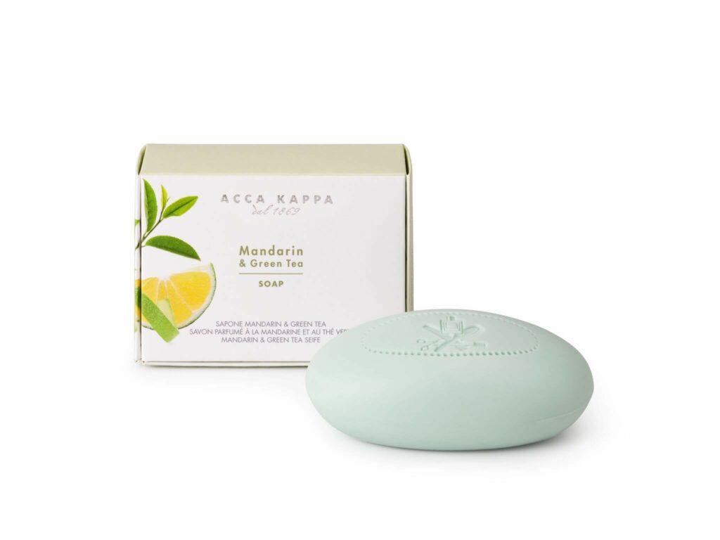 Freisteller von Mandarine/Grüner Tee-Seife von Acca Kappa in edlem Karton.